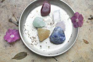 photo of crystals and flowers